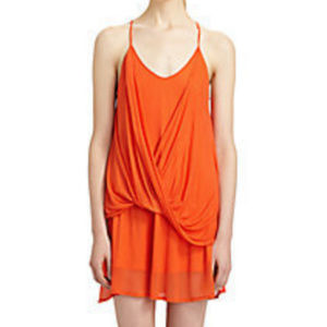 Helmut Lang Orange Twist Jersey Dress Small $310